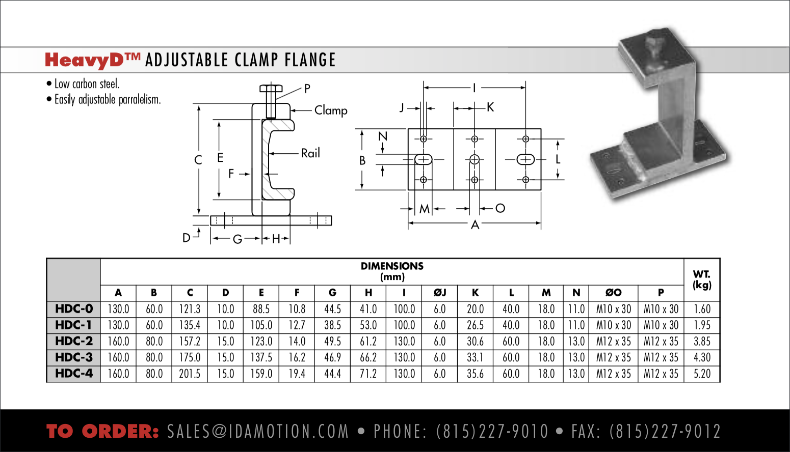 HeavyD Clamps for Bearing U-channel Rail
